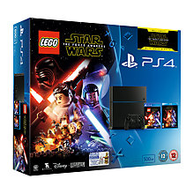Buy Sony PlayStation 4 Console, 500GB, LEGO Star Wars: The Force Awakens Game and Blu-Ray with PS4 DualShock 4 Controller, White Online at johnlewis.com