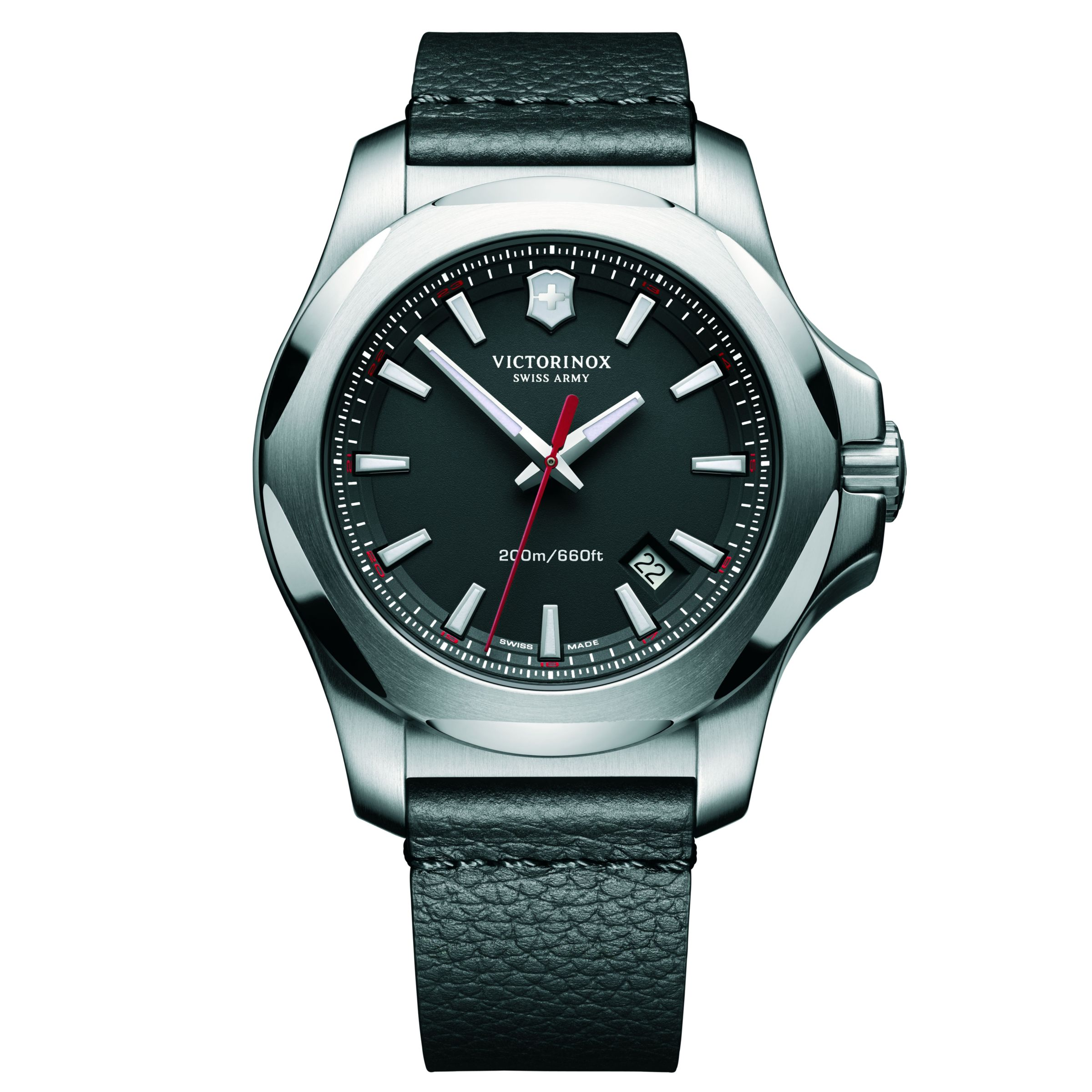 Victorinox Victorinox 241737 Men's I.N.O.X Date Leather Strap Watch, Black