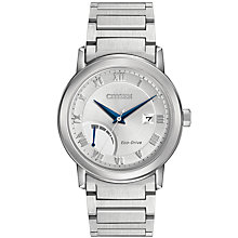 Buy Citizen AW7020-51A Men's Date Power Reserve Bracelet Strap Watch, Silver Online at johnlewis.com