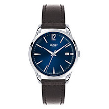 Buy Henry London HL39-S-0031 Unisex Knightsbridge Date Leather Strap Watch, Black/Navy Online at johnlewis.com