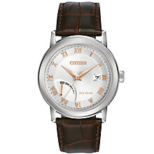 Buy Citizen AW7020-00A Men's Date Power Reserve Leather Strap Watch, Brown/Silver Online at johnlewis.com