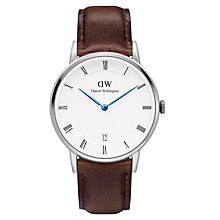 Buy Daniel Wellington DW00100098 Women's Dapper Bristol Date Leather Strap Watch, Dark Brown/White Online at johnlewis.com