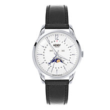 Buy Henry London HL39-LS-0083 Unisex Edgware Moonphase Calendar Leather Strap Watch, Black/White Online at johnlewis.com