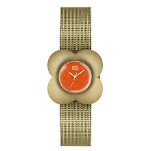 Buy Orla Kiely OK4050 Women's Poppy Mesh Bracelet Strap Watch, Gold/Orange Online at johnlewis.com