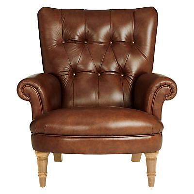 John Lewis Hambleton Leather Armchair, Light Legs