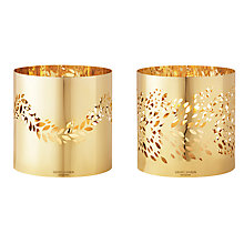 Buy Georg Jensen 2016 Gold Plated Magnolia Leaf Tealight Holder, Set of 2 Online at johnlewis.com