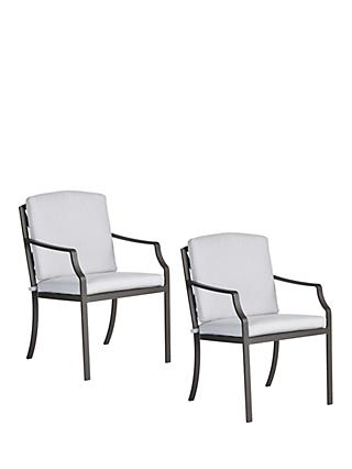 John Lewis & Partners Marlow Aluminium Garden Dining Armchair, Set of 2, Black/Grey