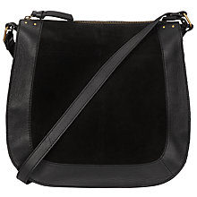 Buy Pieces Pearl Large Suede Across Body Bag, Black Online at johnlewis.com