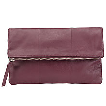 Buy Pieces Pennie Leather Clutch Bag, Fig Online at johnlewis.com