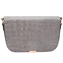 Buy Ted Baker Melaney Leather Exotic Shoulder Bag, Grey Online at johnlewis.com