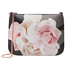 Buy Ted Baker Verah Rose Leather Across Body Bag, Black Online at johnlewis.com