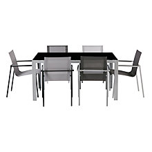 Buy House by John Lewis Manhattan 6 Seater Glass Top Table, Grey / Black Online at johnlewis.com