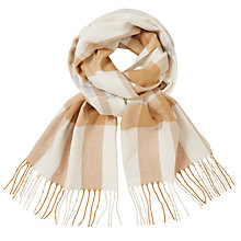 Buy John Lewis Cashmink Check Scarf, Cream Mix Online at johnlewis.com
