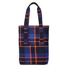 Buy Mi-Pac Picnic Check Tote Bag, Navy / Orange Online at johnlewis.com