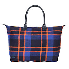 Buy Mi-Pac Picnic Check Weekender Bag, Navy / Orange Online at johnlewis.com