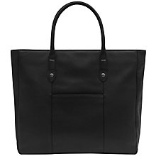Buy Reiss Timmer Grained Leather Tote Bag, Black Online at johnlewis.com