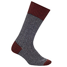Buy John Lewis Yamato Stripe Socks, One Size, Grey/Burgundy/Navy Online at johnlewis.com