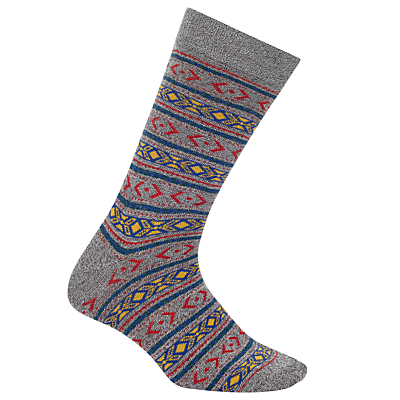 Yamato Fair Isle Socks, One Size, Grey