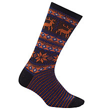 Buy John Lewis Yamato Deer Snow Socks, One Size, Black/Orange Online at johnlewis.com