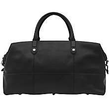 Buy Reiss Deller Grained Leather Holdall, Black Online at johnlewis.com