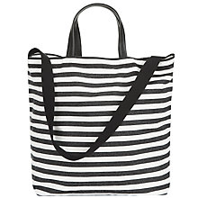 Buy Jaeger Brooklyn Striped Canvas Tote Bag, Black / White Online at johnlewis.com