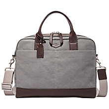 Buy Fossil Wyatt Cotton Workbag, Grey Online at johnlewis.com