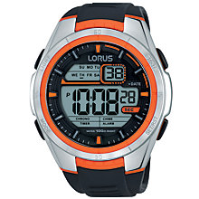 Buy Lorus R2311LX9 Men's Digital Day Date Silicone Strap Watch, Black Online at johnlewis.com