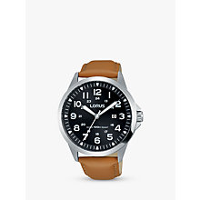 Buy Lorus RH933GX9 Men's Date Leather Strap Watch, Camel/Black Online at johnlewis.com