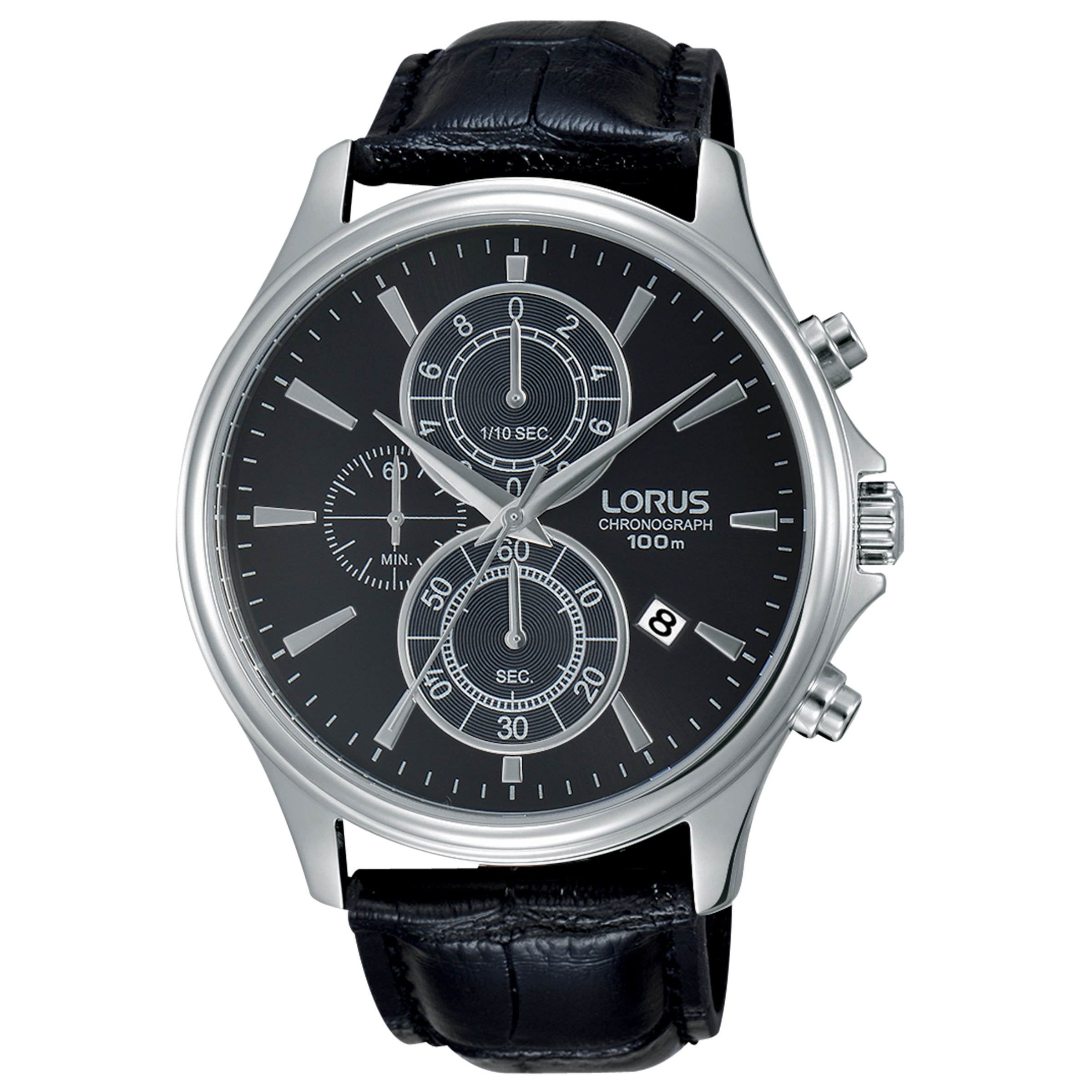 Lorus Lorus RM313DX9 Men's Chronograph Date Leather Strap Watch, Black
