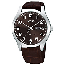 Buy Lorus RXN41DX9 Men's Day Date Leather Strap Watch, Dark Brown Online at johnlewis.com