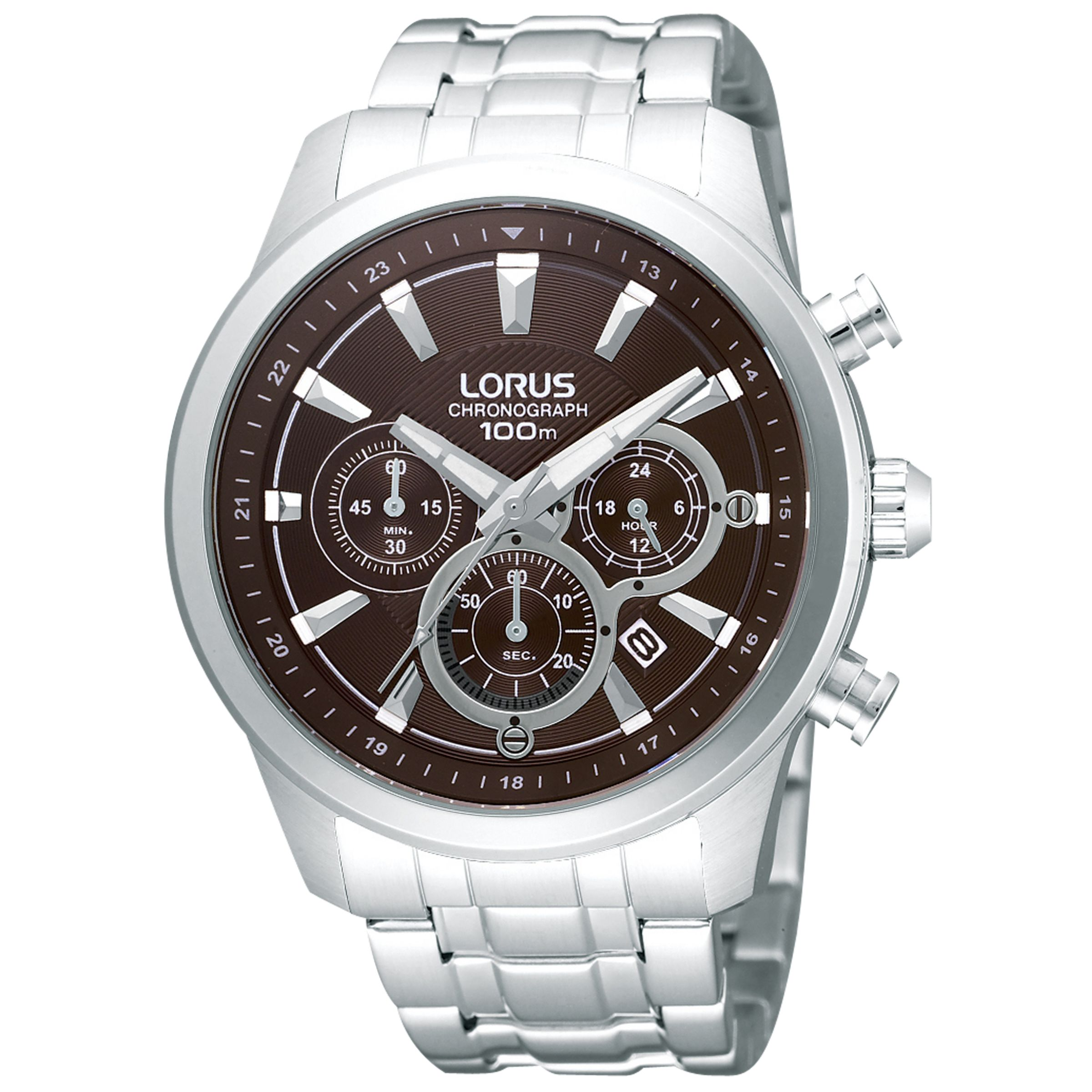 Lorus Lorus RT359AX9 Men's Chronograph Date Bracelet Strap Watch, Silver/Brown