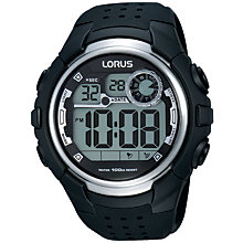 Buy Lorus R2385KX9 Men's Digital Day Date Silicone Strap Watch, Black Online at johnlewis.com
