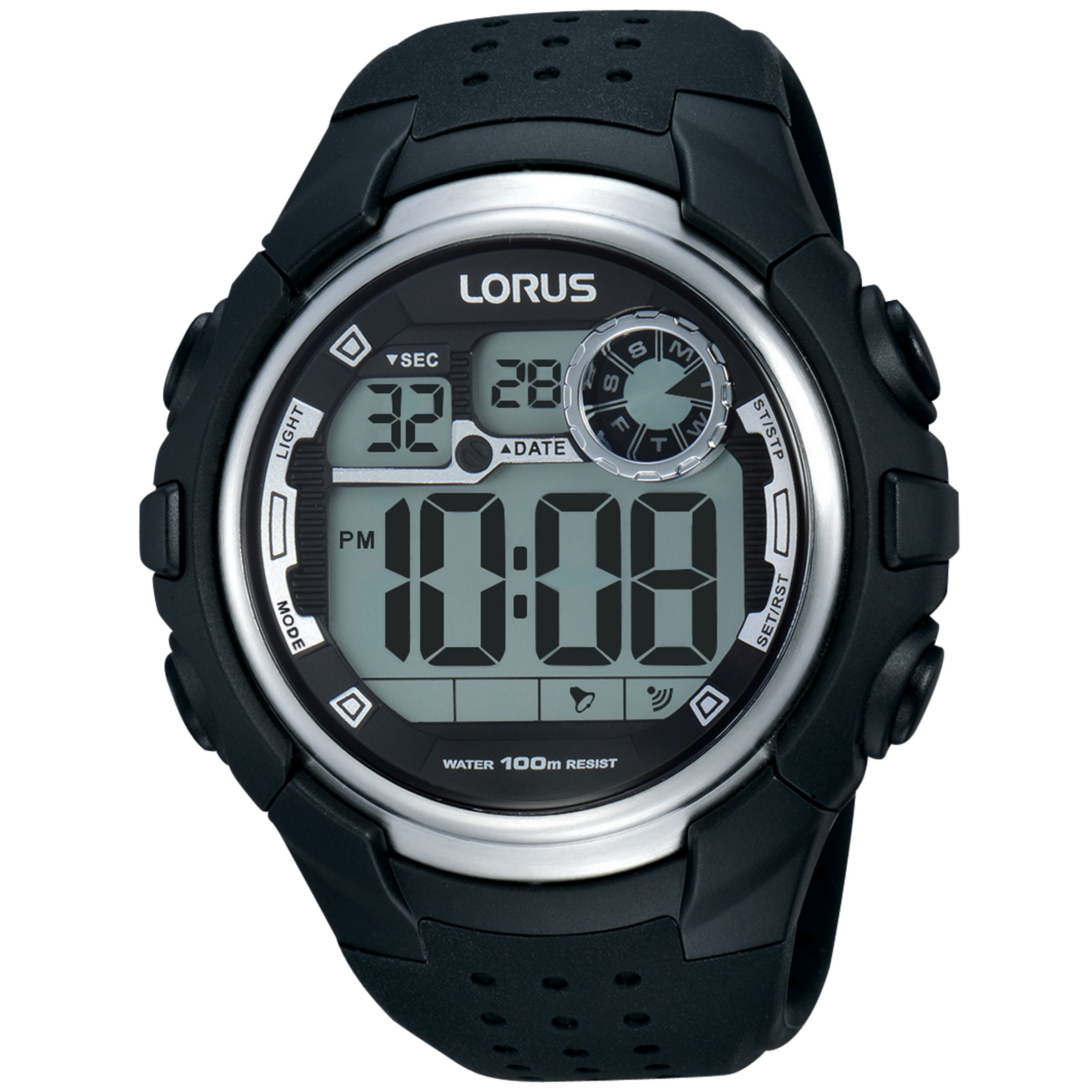 Lorus Lorus R2385KX9 Men's Digital Day Date Silicone Strap Watch, Black