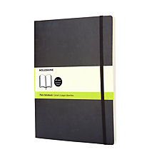 Buy Moleskine Softcover Plain Notebook, Extra Large, Black Online at johnlewis.com