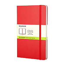 Buy Moleskine Classic Collection Hard Cover Plain Notebook, Red Online at johnlewis.com
