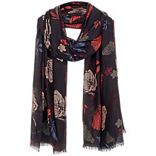 Buy Fat Face Peony Floral Scarf, Black/Multi Online at johnlewis.com