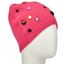 Buy John Lewis Metallic Disc Beanie Hat, Pink Online at johnlewis.com