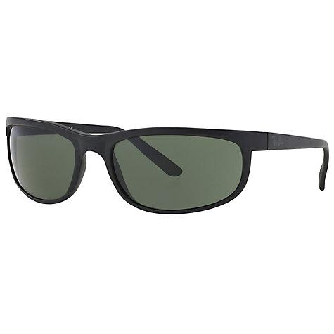 Buy Ray-Ban RB2027 Predator 2 Rectangular Sunglasses, Black/Dark Green Online at ...