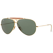 Buy Ray-Ban RB3138 Shooter Aviator Sunglasses, Gold/Green Online at johnlewis.com