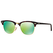 Buy Ray-Ban RB3016 Classic Clubmaster Sunglasses, Tortoise/Mirror Green Online at johnlewis.com