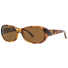 Buy Ray-Ban RB4061 Polarised Rectangular Sunglasses, Havana/Brown Online at johnlewis.com
