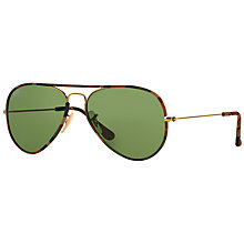 Buy Ray-Ban RB3025JM Original Aviator Sunglasses, Tortoise/Green Online at johnlewis.com