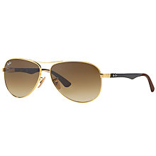 Buy Ray-Ban RB8313 Aviator Sunglasses, Gold/Brown Gradient Online at johnlewis.com