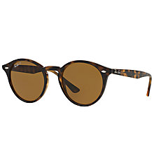 Buy Ray-Ban RB2180 Polarised Round Sunglasses, Tortoise Online at johnlewis.com