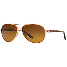 Buy Oakley OO4079 Feedback™ Polarised Aviator Metal Frame Sunglasses, Brown Online at johnlewis.com