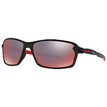 Buy Oakley OO9302 Carbon Shift Polarised Rectangular Sunglasses, Matte Black/Torch Iridium Online at johnlewis.com