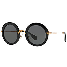 Buy Miu Miu MU 13NS Round Sunglasses, Black Online at johnlewis.com