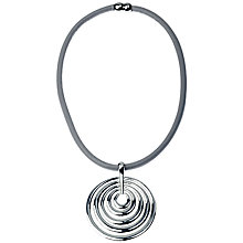Buy Adele Marie Faux Leather Cord Circle Pendant Necklace, Grey/Silver Online at johnlewis.com