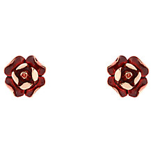 Buy Ted Baker Esmea Enamel Rose Stud Earrings, Rose Gold/Red Online at johnlewis.com