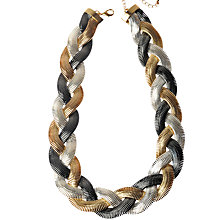 Buy Adele Marie Plaited Flat Chain Necklace, Silver/Multi Online at johnlewis.com